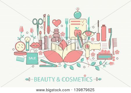 Modern graphic flat line design style infographics concept of Beauty and cosmetics with icons, for website, presentation and poster