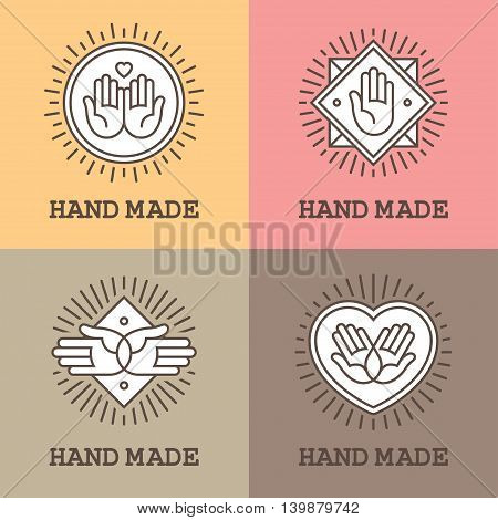 Set of four linear labels and emblems with hands for handmade massage or charity design concept