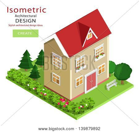Modern colorful detailed isometric building. Vector house with green yard.