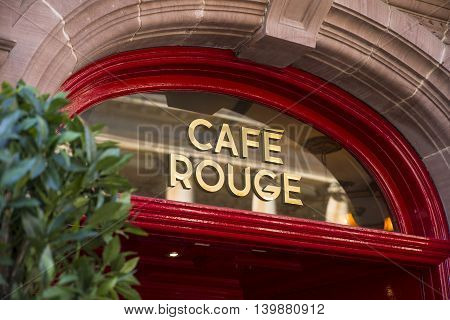 BURY ST EDMUNDS UK - JULY 19TH 2016: The logo of the Cafe Rouge restaurant located in Bury St. Edmunds on 19th July 2015.