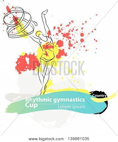 Vector artistic Rhythmic Gymnastic ribbon sketch banner. Hand drawn brush stroke paint drops, spot, sketching for graphic design, poster, banner, flayer, placard, card, competition. Art grange style.