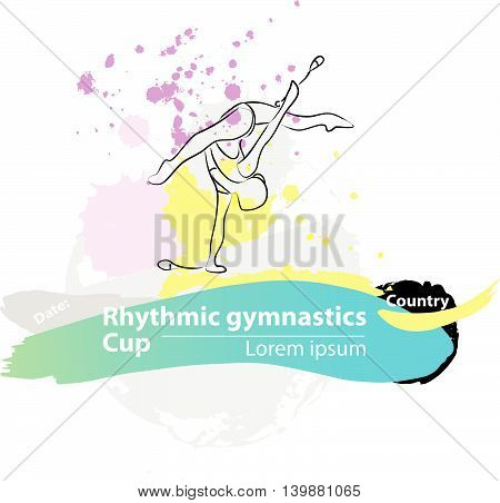 Vector artistic Rhythmic Gymnastic clubs sketch banner. Hand drawn brush stroke paint drops, spot, sketching for graphic design, poster, banner, flayer, billboard, placard, card, competition. Art grange style illustration.