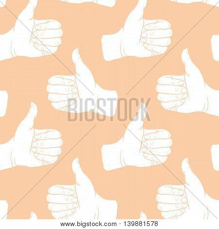 Seamless pattern hand showing symbol like. Making thumb up gesture. Drawn design element. Vector illustration. Endless illustration for web poster print