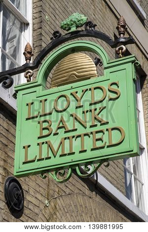 BURY ST EDMUNDS UK - JULY 19TH 2016: A traditional Lloyds Bank sign in Bury St. Edmunds on 19th July 2016.