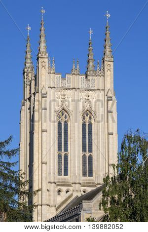 A view of the historic St. Edmundsbury Cathedral in Bury St. Edmunds Suffolk.