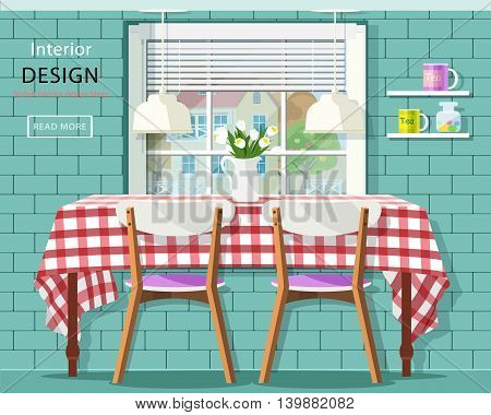 Stylish vintage dining room interior: dinner table with checkered tablecloth, window with jalousie and brick wall with shelves. Flat style vector illustration.