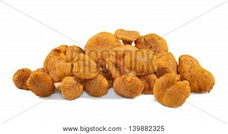 Heap of chanterelle mushrooms on white background