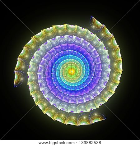 3D surreal spiral snake illustration. Sacred geometry. Mysterious psychedelic relaxation pattern. Fractal abstract texture. Digital artwork graphic design astrology alchemy magic