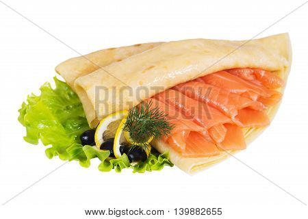 Pancakes with salmon on a white background isolated