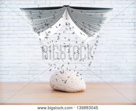 Education concept with information pouring out of book into brain on white brick wall background. 3D Rendering
