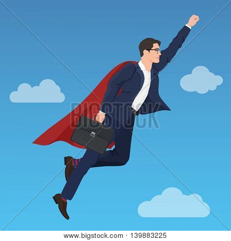 Superhero super successful businessman flying in the sky . Success growth business concept