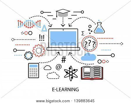 Modern flat thin line design vector illustration infographic concept of internet learning process and computer technologies in study for graphic and web design