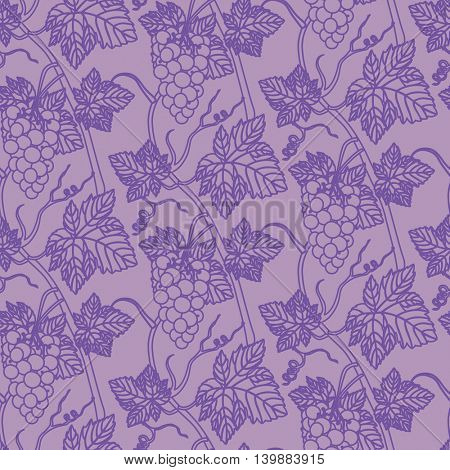 Linear grapes seamless pattern background. Wine making concept contour design. Vector illustration