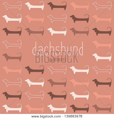 Dachshunds. Pattern. Dachshunds figures, silhouettes of different colors. Vector template illustration for design.