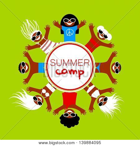 Summer camp. Happy children of different nationalities rest on the sea beach. Vector illustration.