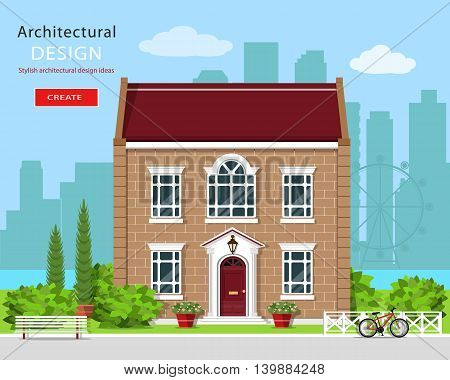 Modern graphic architectural design. Cute brick house. Colorful set: building, bench, yard, bicycle, flowers and trees. Flat style vector illustration.