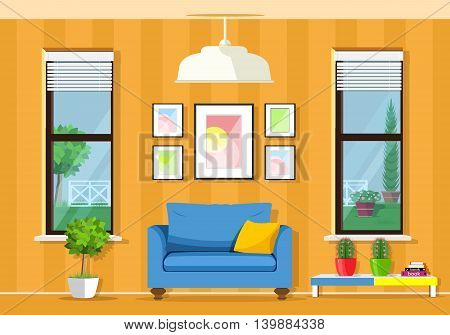 Modern colorful room interior with furniture: armchair, table, windows, flowerpots. Flat style vector illustration.