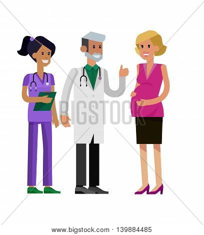 detailed character pregnant woman having a doctor visit in hospital. Gynecologist men and smiling nurse  indicates that everything is OK. Cool flat  illustration isolated on white background.