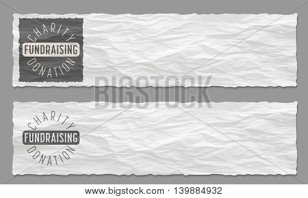 Set of two banners with crumpled paper and the theme of charity