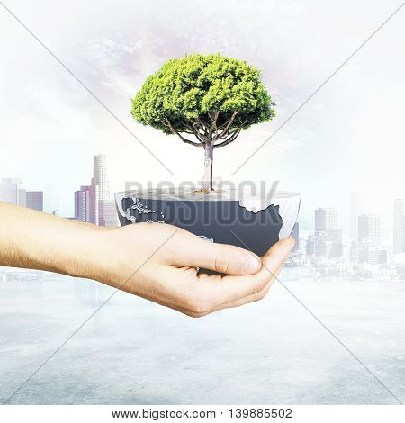 Male hand holding half a globe with large tree on abstract city background. Green earth concept. 3D Rendering
