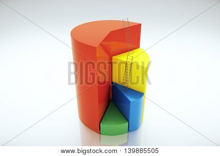 Abstract pie chart with ladders on light background. 3D Rendering