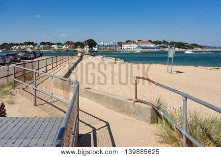 Studland/UK. 20th July 2016. A ferry service provides a useful vehicle link between the beach on the Studland peninsular and Sandbanks in Dorset, UK