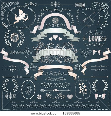 Vector Swirls, Branches, Wedding Design Elements, Objects, Signs. Decorative White Paper Corners, Dividers, Arrows, Scrolls Ribbons Vector Illustration. Love, Valentine