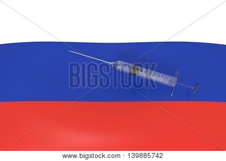 Doping: 3d Russian flag with a syringe 3d illustration