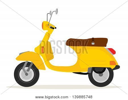 Yellow italian vintage motorcycle flat style with shadow