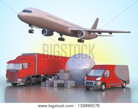 3d illustration delivery and transportation of goods anywhere in the world