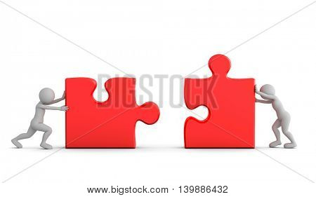 Two toon men connect two puzzle pieces. Concept of business solution, teamwork, solving a problem. 3D illustration