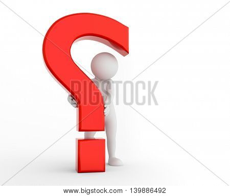 3d question mark being hold by a toon man. FAQ, ask, search concepts. 3D illustration