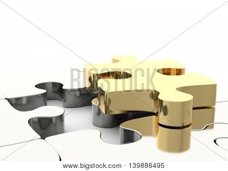 Last golden puzzle piece to complete a jigsaw. Concept of business solution, solving a problem. 3D illustration