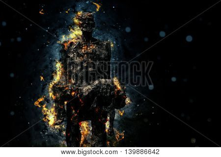 Man burnt sacrifice of enduring flame. Symbol memory of those killed in the village of Khatyn under the Nazi regime