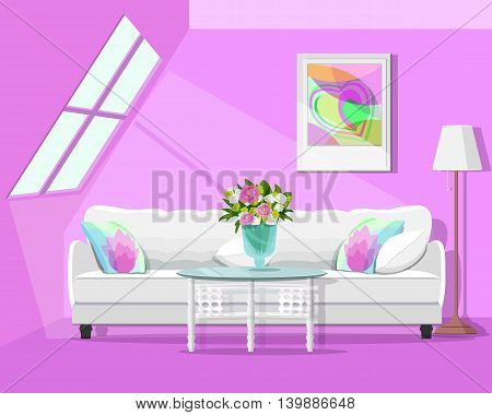 Modern graphic loft interior design. Colorful room set. Flat style vector illustration.