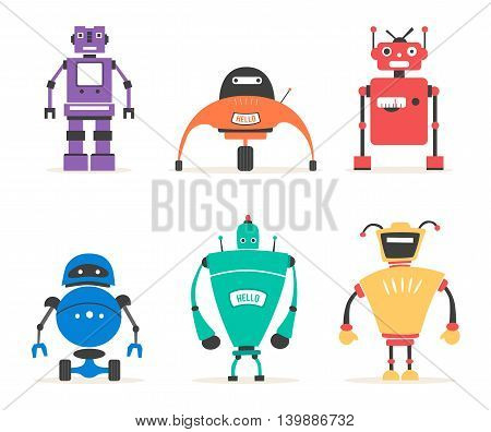 Set of robots. Vintage style. Cartoon vector illustration. Friendly cyborg