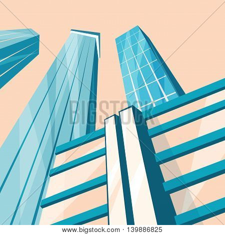 Skyscrapers in the city. Bottom view. Cartoon vector illustration. Vintage style. Buildings in downtown. Corporate architecture