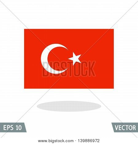 Turkey and Ottoman Empire flag icon vector illustration. Religious Islamic symbol Star and Crescent.