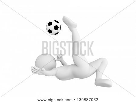 Toon man soccer player shooting ball in overhead kick pose. Football concept. White background. 3D illustration