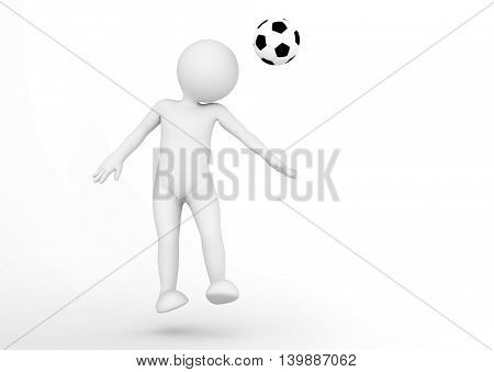 Toon man soccer player heading the ball. Football concept. White background. 3D illustration