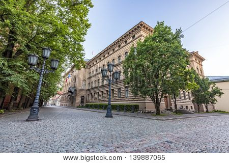 RIGA, LATVIA - JULY 10, 2016: Main Building of the Saeima - parliament of the Republic of Latvia in Riga Old City at Corner of Jekaba and Klostera Streets.