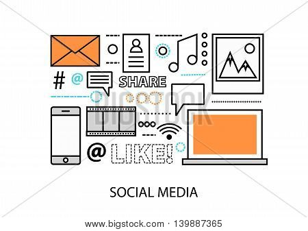 Modern flat design vector illustration concept of social media social networking web communtity and posting news for graphic and web design