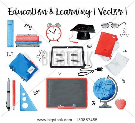 Modern watercolor design vector illustration concept of education and learning