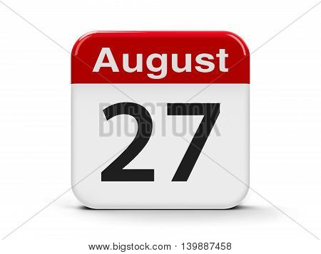 Calendar web button - The Twenty Seventh of August - Independence Day of the Republic of Moldova three-dimensional rendering 3D illustration
