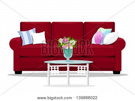 Red soft luxury style sofa with glass table for living room. Flat design home furniture. Vector illustration isolated.