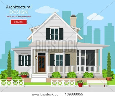 Cute modern graphic cottage house with trees, flowers, bench and city background. Detailed private house set. Flat style vector illustration.