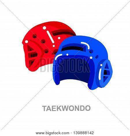 Illustration for martial art poster. Vector equipment for Taekwondo, helmet