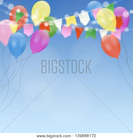Birthday card invitation with bright balloons and flags. Garden party decoration. Modern blurred background. Anniversary and celebration concept. Vector illustration.