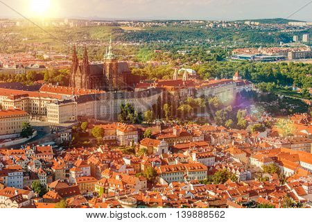 Prague Czechia Czech Republic Summer Cityscape with Castle and the Cathedra. Prague Europe.