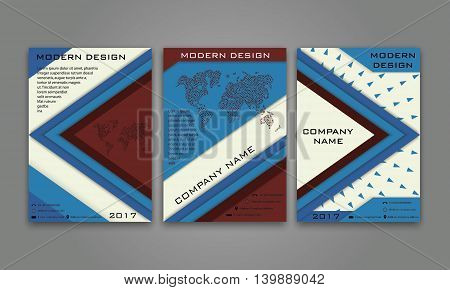 Abstract Modern Business Flyer, Brochure, Poster, Annual Report, Magazine Cover Vector Template in Blue Brown Color. Modern Material Design. Geometric Triangular Material Background. Layout A4 Size